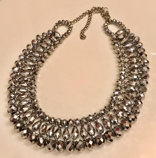 None Multi Layer Faceted Silver Metallic Crystal Necklace Image 4