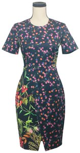 French Connection short dress Black Multi Pencil Floral Print on Tradesy