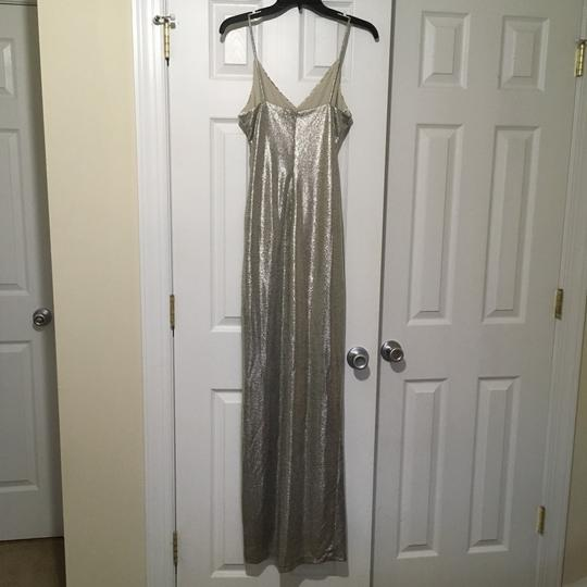 Betsy & Adam Light Gold Sleek Wrap Formal Bridesmaid/Mob Dress Size 4 (S) Image 1