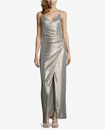 Betsy & Adam Light Gold Sleek Wrap Formal Bridesmaid/Mob Dress Size 4 (S) Image 8