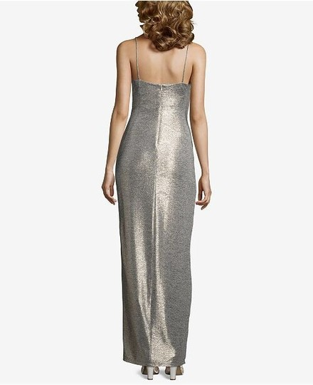 Betsy & Adam Light Gold Sleek Wrap Formal Bridesmaid/Mob Dress Size 4 (S) Image 9