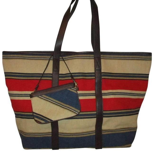 Item - Striped Tan Red Blue & Brown Textile Leather Tote