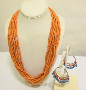 Other Coral Beaded Necklace and Multi-color Beaded Earring Set