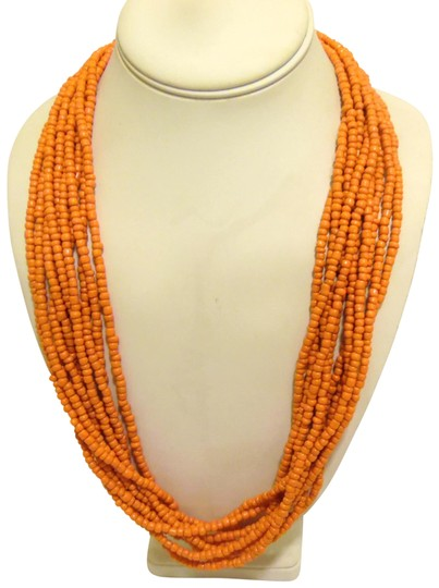 Other Coral Beaded Necklace and Multi-color Beaded Earring Set Image 1