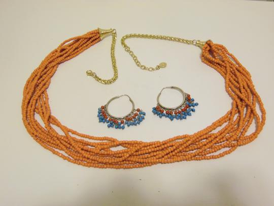 Other Coral Beaded Necklace and Multi-color Beaded Earring Set Image 10