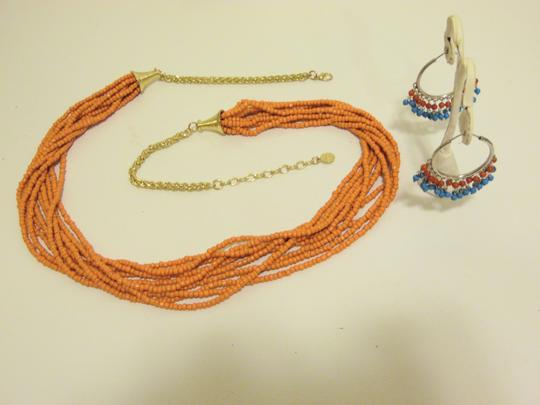 Other Coral Beaded Necklace and Multi-color Beaded Earring Set Image 11
