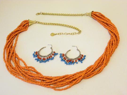 Other Coral Beaded Necklace and Multi-color Beaded Earring Set Image 3