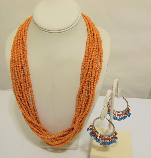 Other Coral Beaded Necklace and Multi-color Beaded Earring Set Image 4