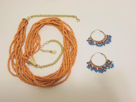 Other Coral Beaded Necklace and Multi-color Beaded Earring Set Image 6