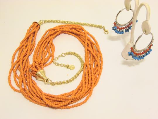Other Coral Beaded Necklace and Multi-color Beaded Earring Set Image 7