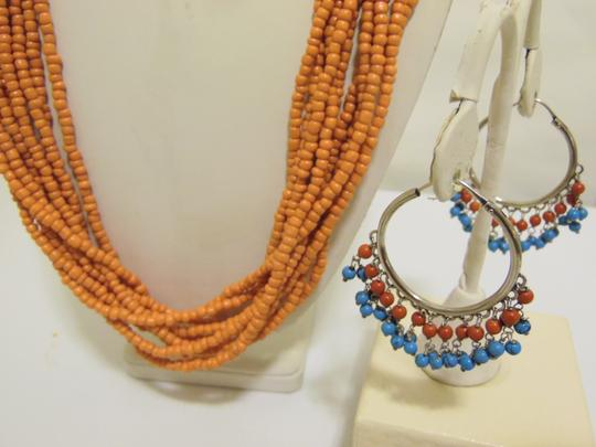 Other Coral Beaded Necklace and Multi-color Beaded Earring Set Image 8