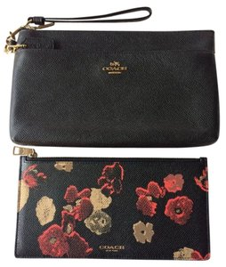 Coach Wristlet in Black and Floral