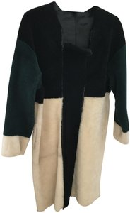Opening Ceremony Shearling Color-blocking Fur Coat
