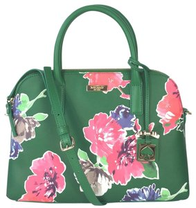 Kate Spade Dome Satchel Floral Leather Speedy Cross Body Bag