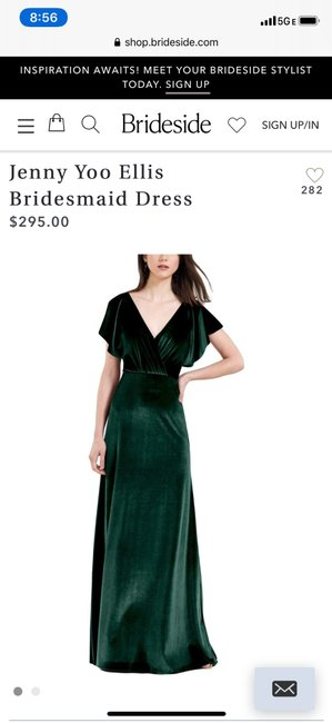 Item - Emerald Green Velvet Ellis Feminine Bridesmaid/Mob Dress Size 4 (S)