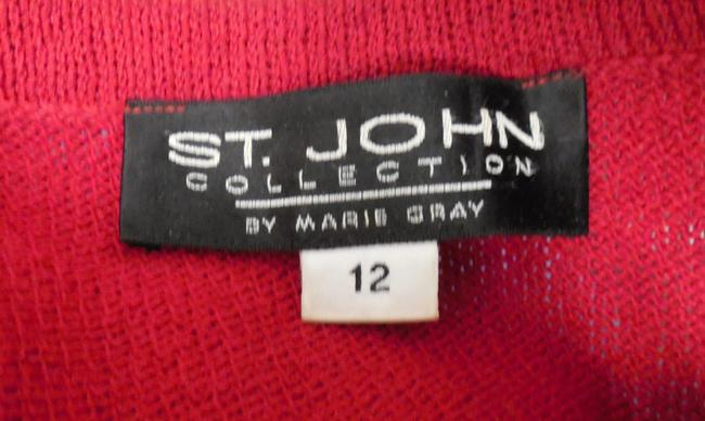 St. John Knit Full Zip Red Jacket Image 3