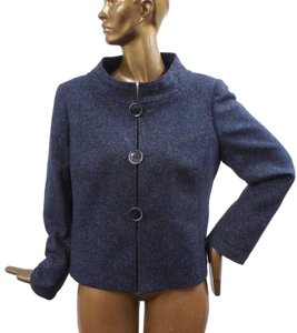 Lafayette 148 New York Tweed Fantasy Blazer Blue Jacket