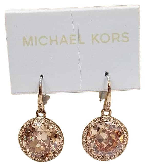 Item - Rose Gold Tone Crystal Round Drop Dangle Earrings