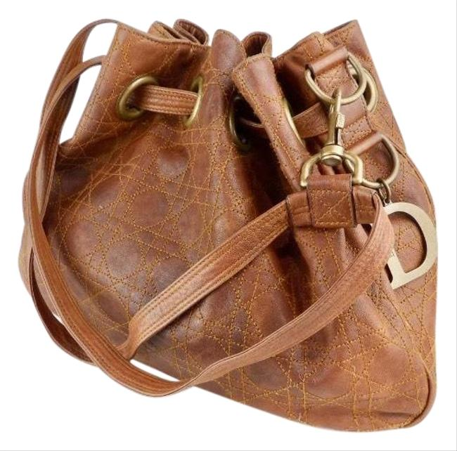 Item - Cannage Brown Lambskin Leather Hobo Bag
