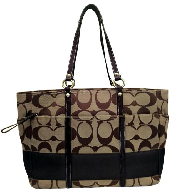 "Item - And Leather Signature ""C"" 10838 Brown Canvas Diaper Bag"