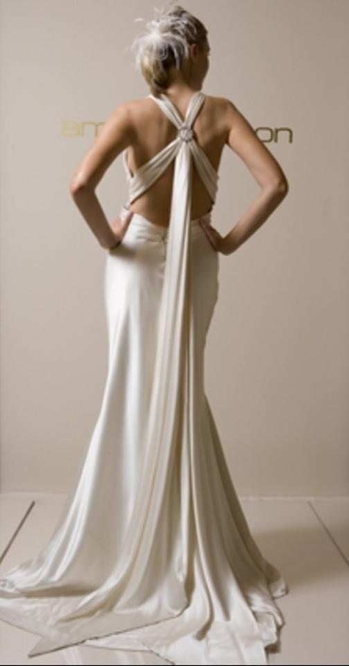 Amy michelson champagne satin bling sexy wedding dress size 2 xs amy michelson champagne satin bling sexy wedding dress size 2 xs junglespirit Images