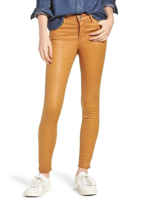 Item - Brown Coated Faux Leather The Legging Wax Stretch Skinny Jeans Size 29 (6, M)