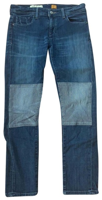 Item - Medium Wash With Stripped Patching Straight Leg Jeans Size 6 (S, 28)