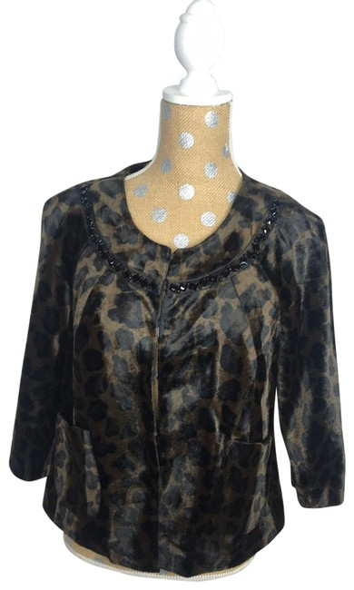 Item - Black and Brown Faux Jacket Coat Size 8 (M)