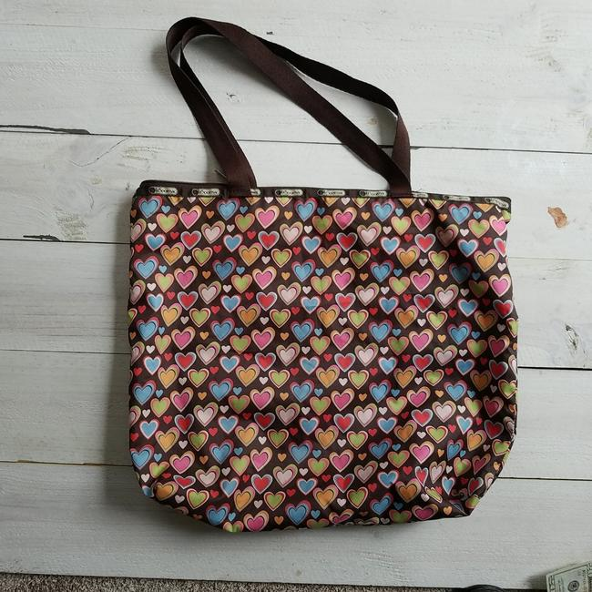 Item - Limited Edition Heart Pattern Multicolor Nylon Tote