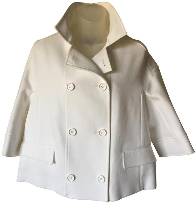 Item - White Double Breasted Crop Blazer with 3/4 Sleeve Jacket Size 6 (S)