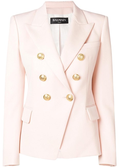 Item - Pink Double-breasted Jacket with Gold Buttons Fr40 Blazer Size 8 (M)