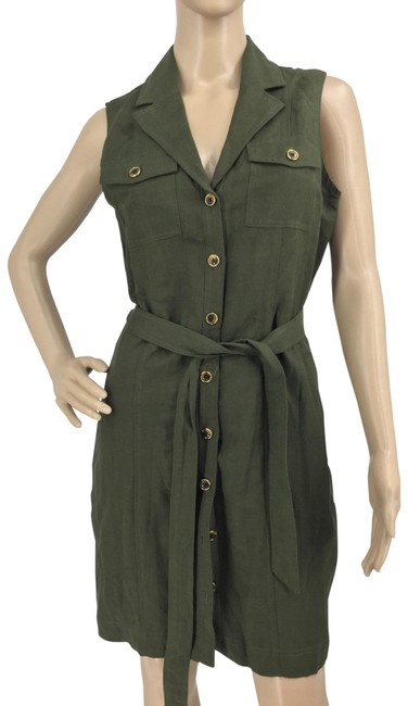 Item - Army Green Belted Mid-length Short Casual Dress Size 4 (S)