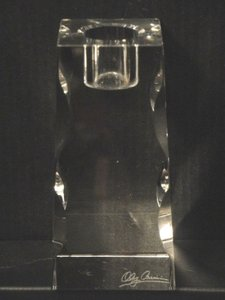 Oleg Cassini Cleat Premiere 4-inch Crystal Candlestick Square Pyramid Holder
