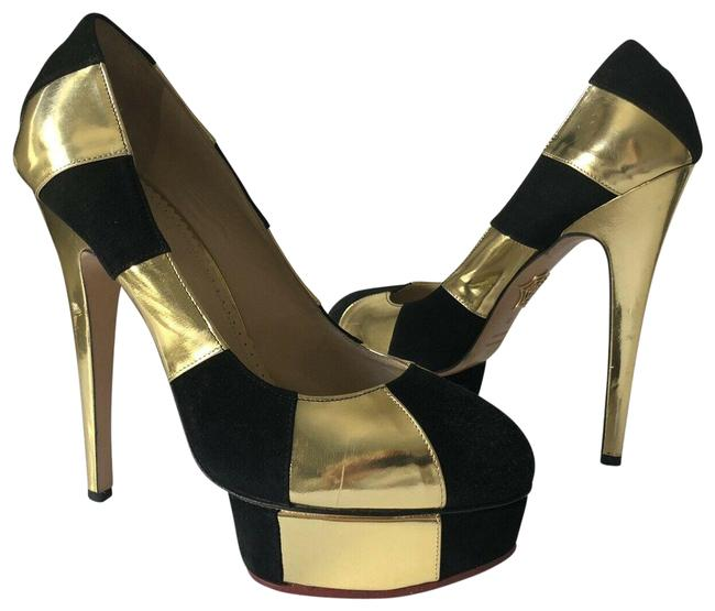 Charlotte Olympia Gold/Black Metallic Leather Suede Pumps Size EU 39 (Approx. US 9) Regular (M, B) Charlotte Olympia Gold/Black Metallic Leather Suede Pumps Size EU 39 (Approx. US 9) Regular (M, B) Image 1