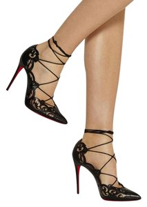 Christian Louboutin Laser Cut Ankle Strap Pointed Toe So Kate Impera Black Pumps