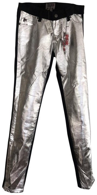 Item - Silver - Black Coated Pants Straight Leg Jeans Size 2 (XS, 26)