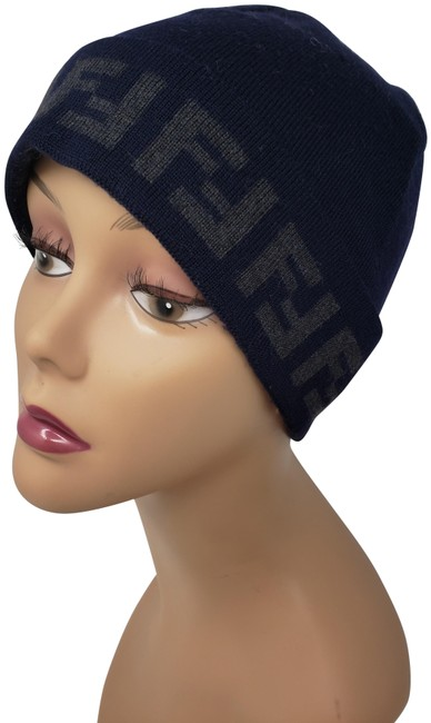 Item - Blue Navy Grey Wool Zucca Monogram Knit Hat