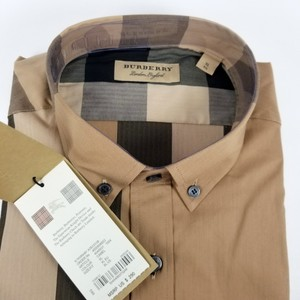 Burberry Camel Check Thornaby Trim Fit Button Down Mens Shirt