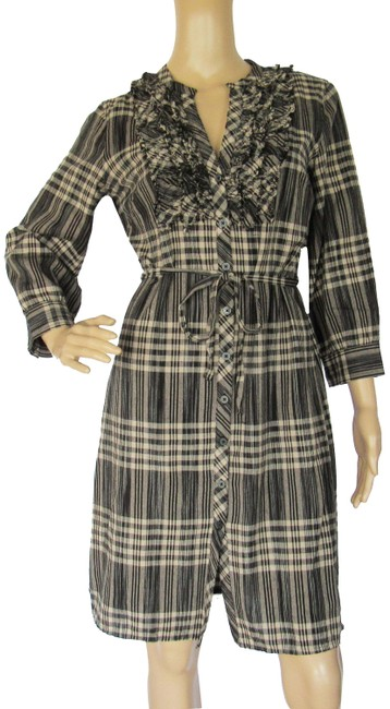 Item - Black/Warm Gray Plaid Fringed Long Sleeve Button Front Mid-length Short Casual Dress Size 4 (S)