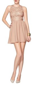 Rhyme & Echo short dress Taupe Embroidered on Tradesy
