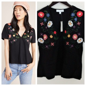 Anthropologie Embroidered T Shirt Black