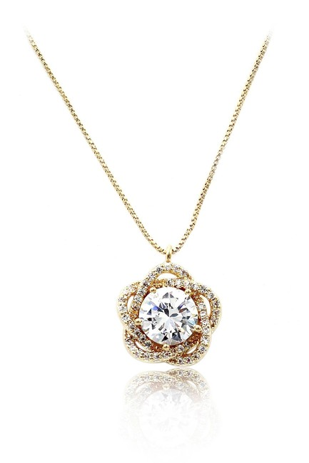 Ocean Fashion Gold 925 Crystal Flower Necklace Ocean Fashion Gold 925 Crystal Flower Necklace Image 1