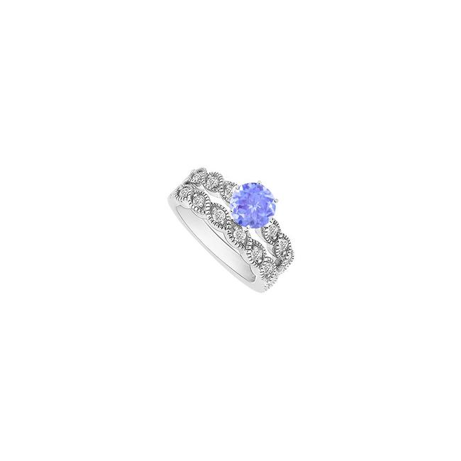 Blue Tanzanite and Diamond Engagement with Wedding Band Set 14k White Ring Blue Tanzanite and Diamond Engagement with Wedding Band Set 14k White Ring Image 1