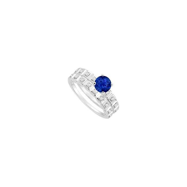 Blue Sapphire and Diamond Engagement with Wedding Band Set Ring Blue Sapphire and Diamond Engagement with Wedding Band Set Ring Image 1