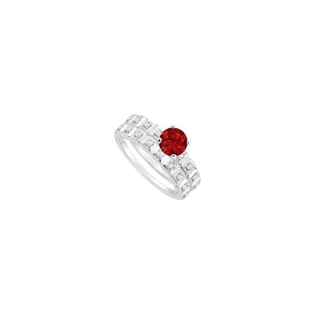 Red Ruby and Diamond Engagement with Wedding Band Set 14k White Gold Ring Red Ruby and Diamond Engagement with Wedding Band Set 14k White Gold Ring Image 1