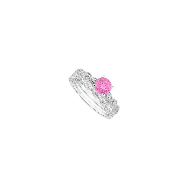 Pink Sapphire and Diamond Engagement with Wedding Band Set Ring Pink Sapphire and Diamond Engagement with Wedding Band Set Ring Image 1