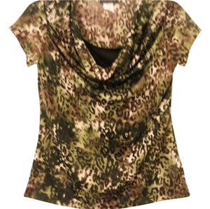 Brittany Black Polyester/spandex Cougar Print Light Weight Top safari