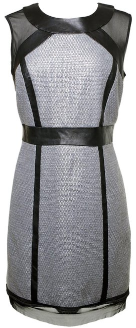 Preload https://img-static.tradesy.com/item/26380079/milly-silver-and-black-knit-and-leather-mid-length-cocktail-dress-size-8-m-0-2-650-650.jpg