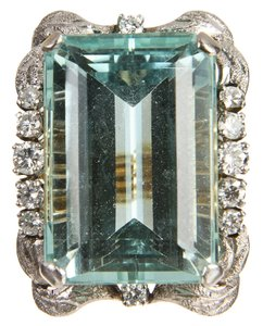 Yellow Box Yellow Gold Diamond and Aquamarine Cocktail Ring 45ct.