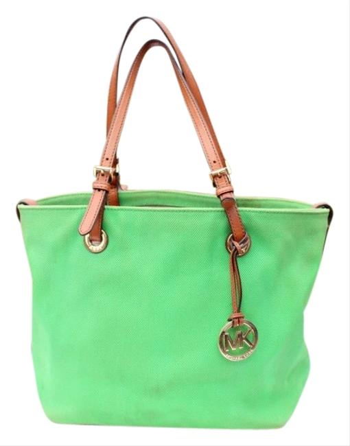 MICHAEL Michael Kors Green Canvas & Leather Tote MICHAEL Michael Kors Green Canvas & Leather Tote Image 1